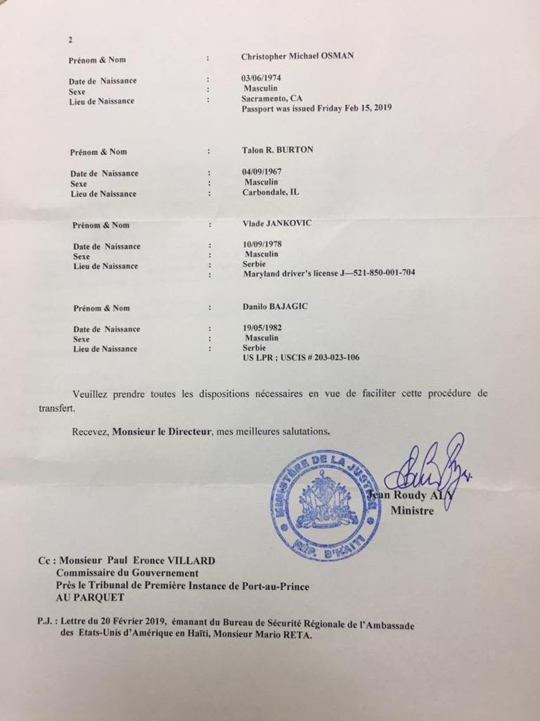 Haitian Ministry of Justice document regarding the passport issued to Christopher Osman, one of the detained contractors.